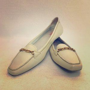 Prada Ivory Leather Loafers